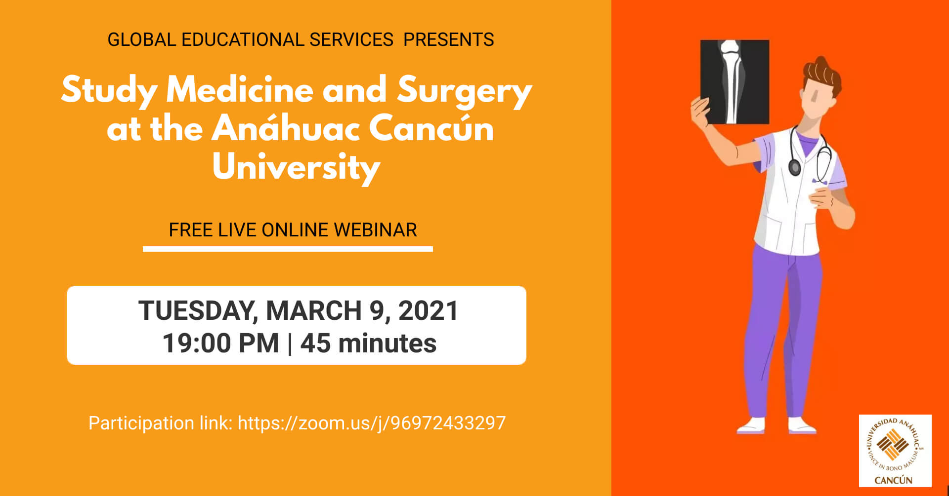 Facebook Event Webinar Invitation - Study Medicine and Surgery at Anahuac Cancur University